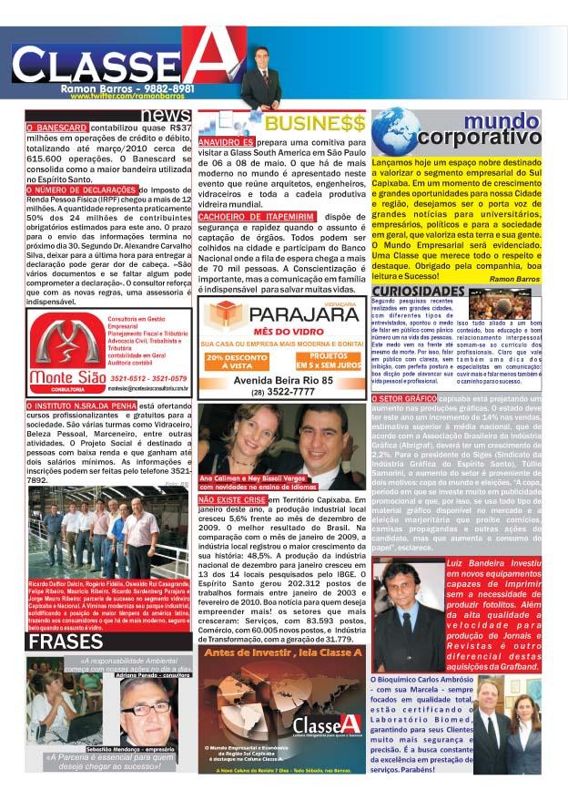 Coluna CLASSE A - Todos os Sábados na Revista SE7E DIAS