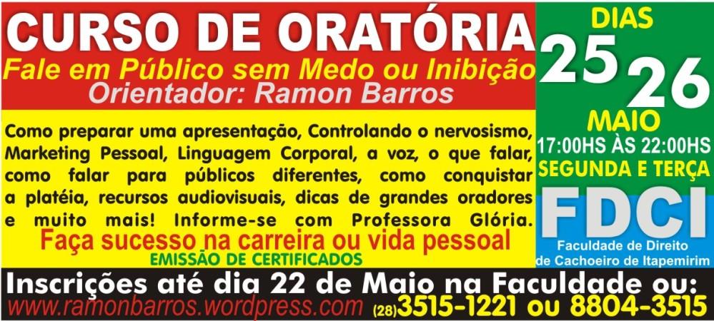 Curso Exclusivo para Alunos do Curso de Direito da FDCI. Clique na Imagem para saber mais ou mande-nos um e-mail: ramonbarros.palestrante@yahoo.com.br